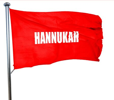 menora: hannukah, 3D rendering, a red waving flag Stock Photo
