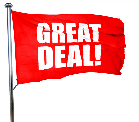 great deal: great deal, 3D rendering, a red waving flag