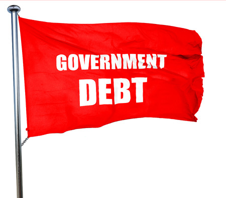 penniless: government debt, 3D rendering, a red waving flag