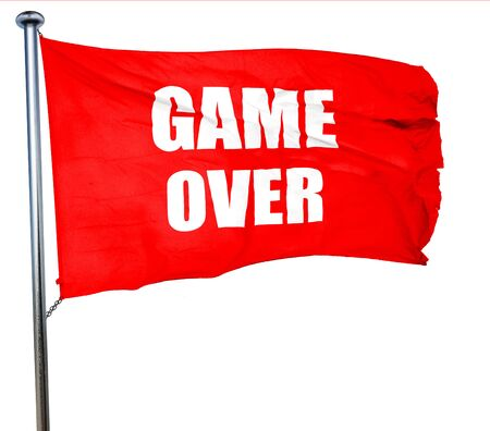 unsuccess: game over, 3D rendering, a red waving flag