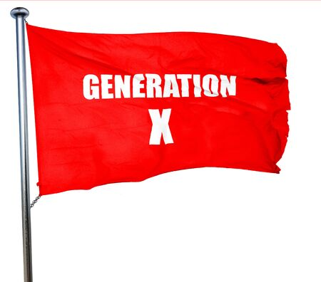 generation x: generation x word, 3D rendering, a red waving flag Stock Photo