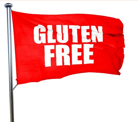 hypoallergenic: gluten free, 3D rendering, a red waving flag