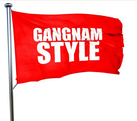 travesty: gangnam style, 3D rendering, a red waving flag Stock Photo