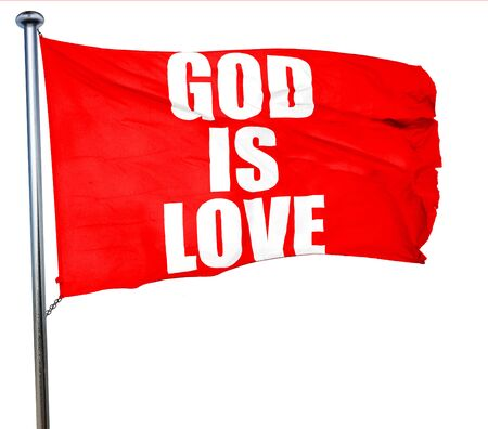 god 3d: god is love, 3D rendering, a red waving flag