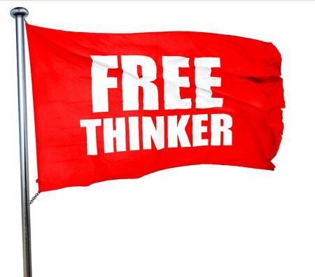 the thinker: free thinker, 3D rendering, a red waving flag
