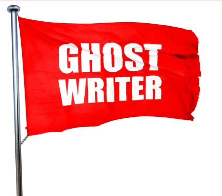 screenplay: ghost writer, 3D rendering, a red waving flag