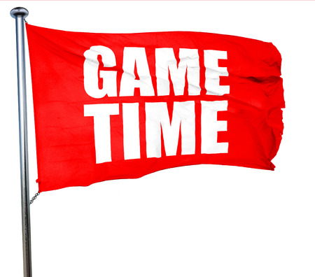 game time: game time, 3D rendering, a red waving flag Stock Photo