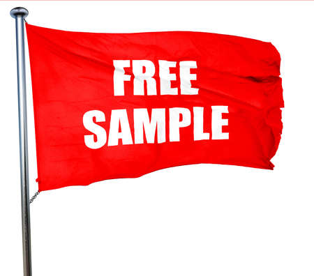free sample: free sample sign with some soft smooth lines, 3D rendering, a red waving flag