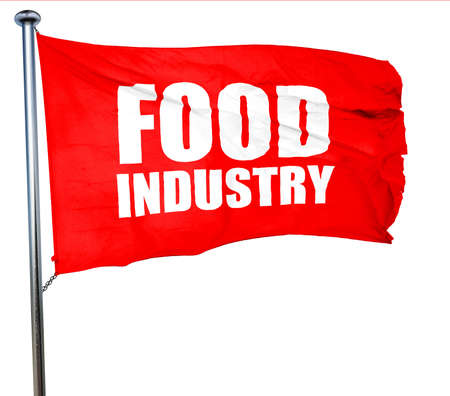 food industry: food industry, 3D rendering, a red waving flag Stock Photo
