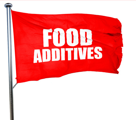 stabilizers: food additives, 3D rendering, a red waving flag Stock Photo