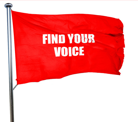 self discovery: find your voice, 3D rendering, a red waving flag