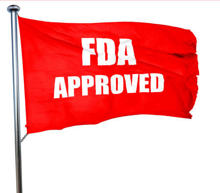 fda: FDA approved background with some smooth lines, 3D rendering, a red waving flag Stock Photo