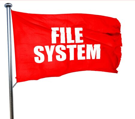 custom cabinet: file system, 3D rendering, a red waving flag Stock Photo