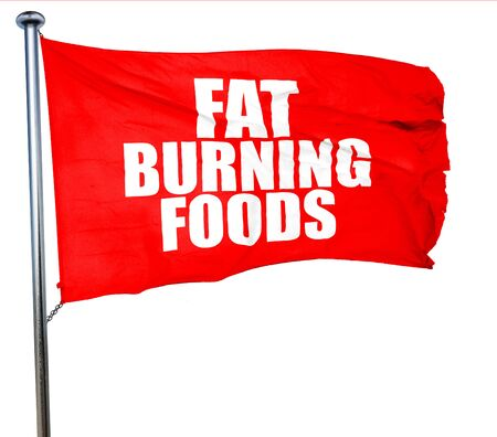 fat burning: fat burning foods, 3D rendering, a red waving flag Stock Photo