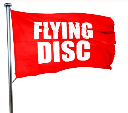 flying disc: flying disc, 3D rendering, a red waving flag
