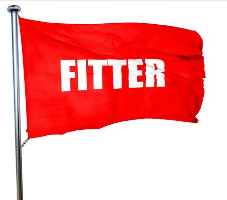 fitter: fitter, 3D rendering, a red waving flag