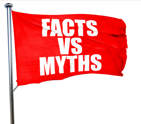 busting: facts vs myths, 3D rendering, a red waving flag