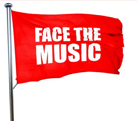 music 3d: face the music, 3D rendering, a red waving flag Stock Photo