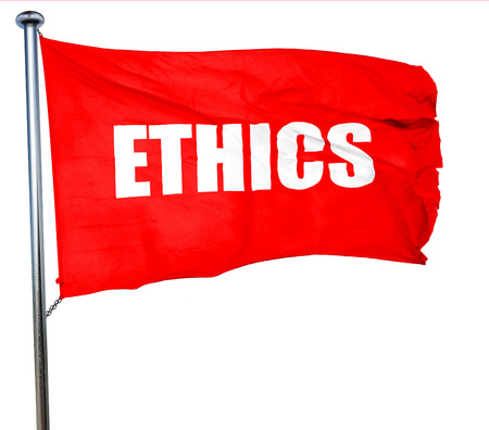 ethos: ethics, 3D rendering, a red waving flag Stock Photo