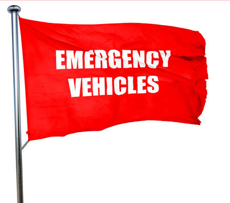 emergency lane: Emergency services sign with yellow and black colors, 3D rendering, a red waving flag Stock Photo