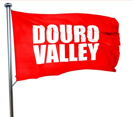 douro: douro valley, 3D rendering, a red waving flag