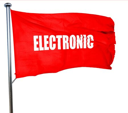 electronic music, 3D rendering, a red waving flag Archivio Fotografico
