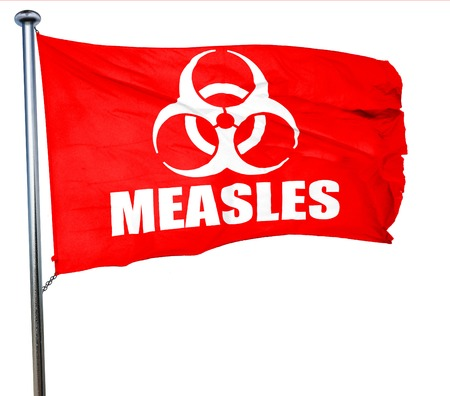 measles: measles concept background with some soft smooth lines, 3D rendering, a red waving flag