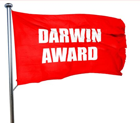 nominated: darwin award, 3D rendering, a red waving flag