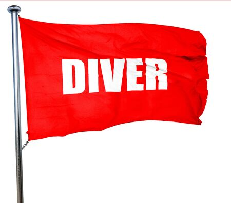 aqualung: diver, 3D rendering, a red waving flag