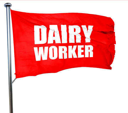 dairy worker, 3D rendering, a red waving flag Stock Photo
