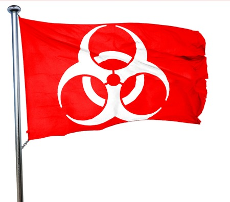 biologic: Bio hazard sign on a grunge background, 3D rendering, a red waving flag
