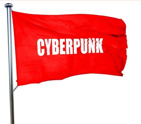 cyberpunk: cyberpunk, 3D rendering, a red waving flag