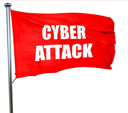 corporate espionage: Cyber warfare background with some smooth lines, 3D rendering, a red waving flag