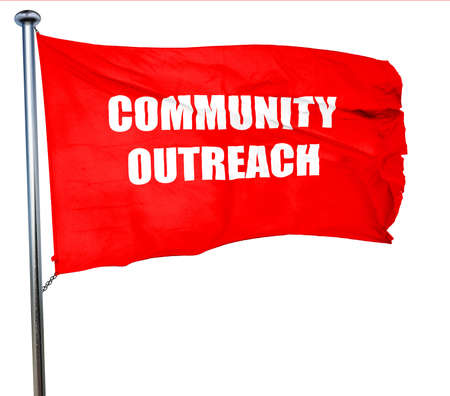 outreach: Community outreach sign with some smooth lines, 3D rendering, a red waving flag Stock Photo