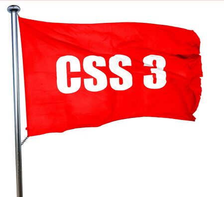 css: css 3, 3D rendering, a red waving flag Stock Photo