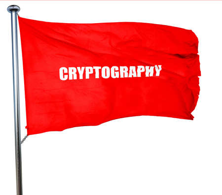 cryptography: cryptography, 3D rendering, a red waving flag