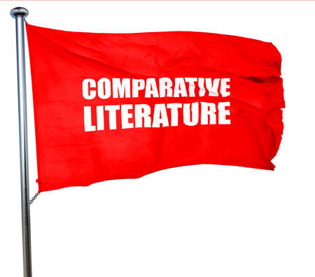 comparative: comparative literature, 3D rendering, a red waving flag Stock Photo