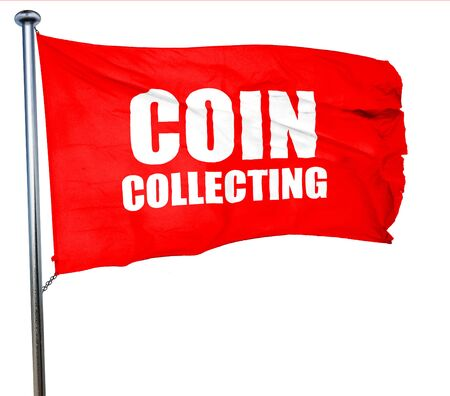 numismatic: coin collecting, 3D rendering, a red waving flag