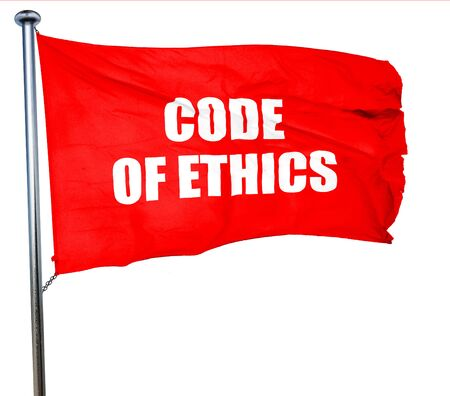 work ethic responsibilities: code of ethics, 3D rendering, a red waving flag Stock Photo