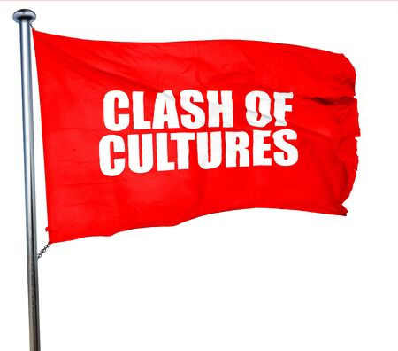 clash: clash of cultures, 3D rendering, a red waving flag