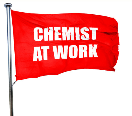 chemist at work, 3D rendering, a red waving flag Stock Photo