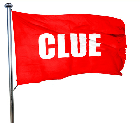 crime solving: clue, 3D rendering, a red waving flag Stock Photo