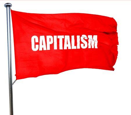 capitalismo: capitalismo, 3D, agitar una bandera roja