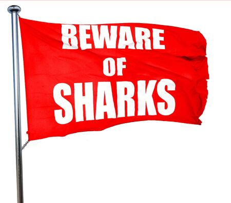 sighting: Beware of sharks sign with some smooth lines, 3D rendering, a red waving flag