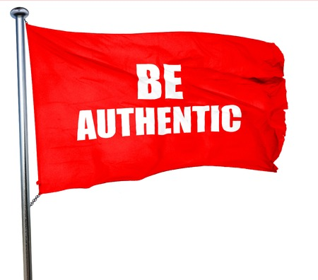faked: be authentic, 3D rendering, a red waving flag