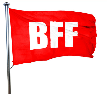 bff: bff, 3D rendering, a red waving flag