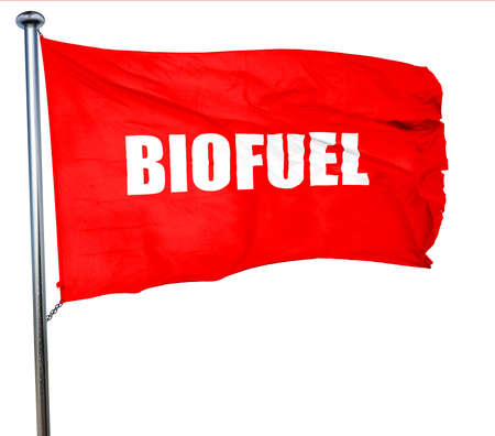 biodiesel plant: biofuel, 3D rendering, a red waving flag