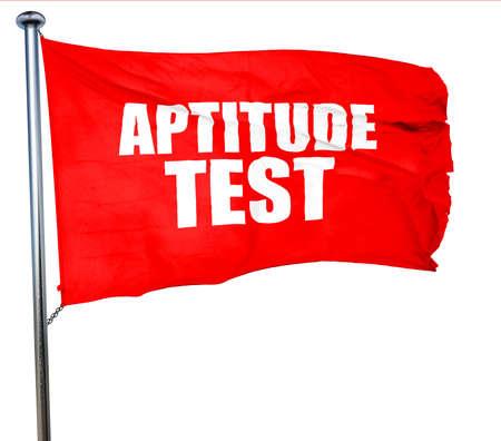aptitude: aptitude test, 3D rendering, a red waving flag Stock Photo