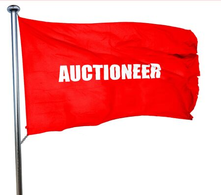 auctioneer: auctioneer, 3D rendering, a red waving flag