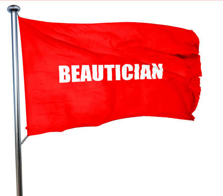 beautician: beautician, 3D rendering, a red waving flag Stock Photo